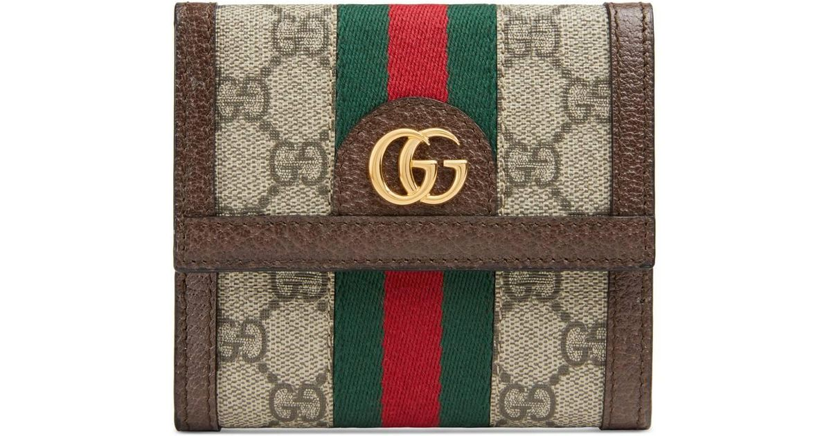 1c4b2bf943f0 Gucci Ophidia GG French Flap Wallet Beige in Natural - Lyst