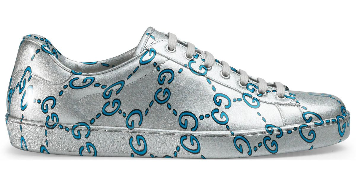 8b086009e Gucci Ace Gg Coated Leather Sneaker in Blue for Men - Lyst
