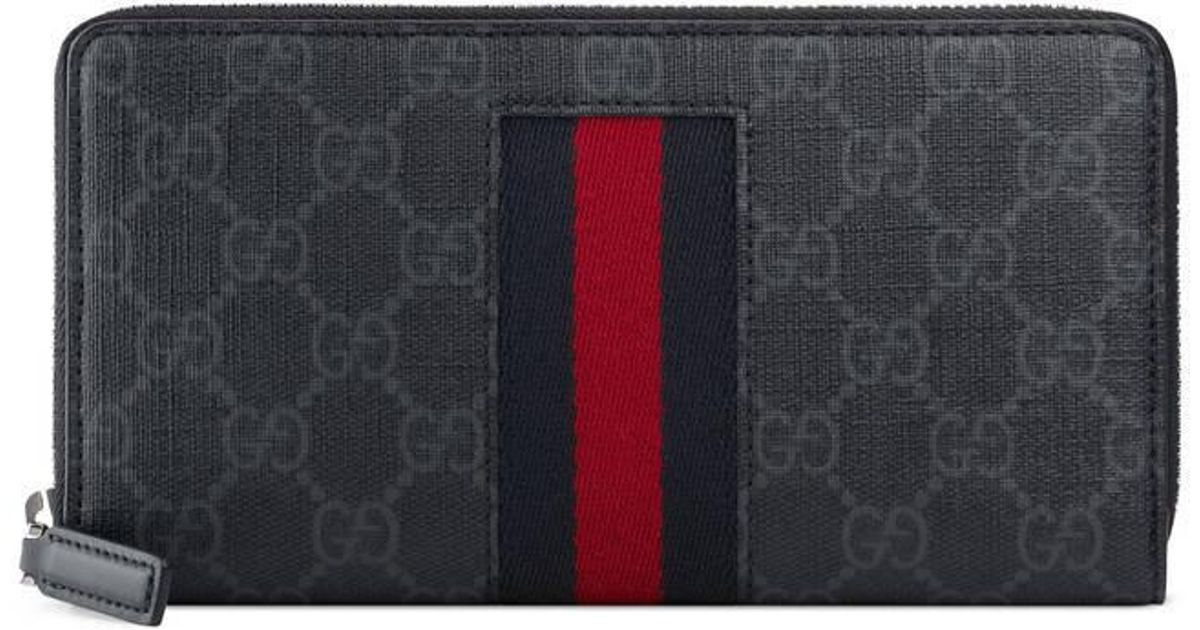 a4c28337b94bc Lyst - Gucci Gg Supreme Web Zip Around Wallet in Gray