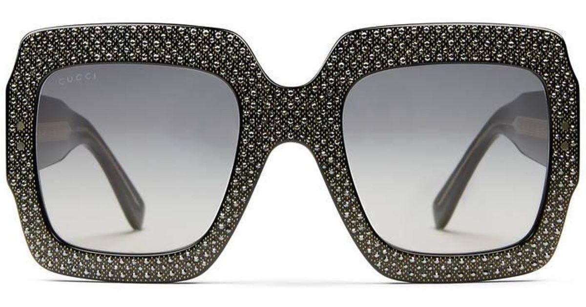 d044211d85 Lyst - Gucci Oversize Square-frame Rhinestone Sunglasses