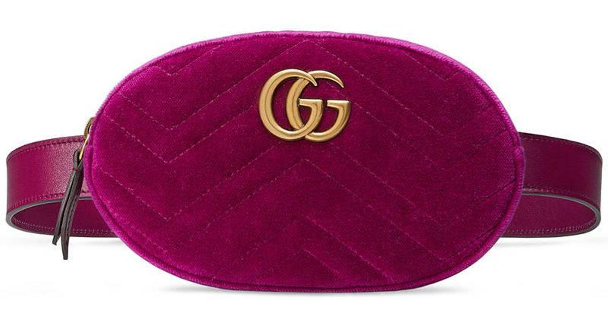 dea2b8b0f1ef81 Gucci Gg Marmont Matelassé Velvet Belt Bag in Purple - Lyst