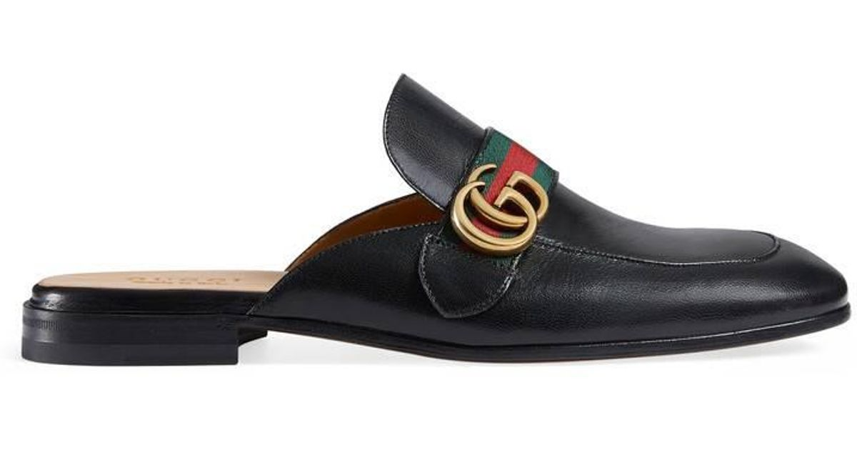 d5e858f524c Lyst - Gucci Princetown Leather Slipper With Double G in Black for Men