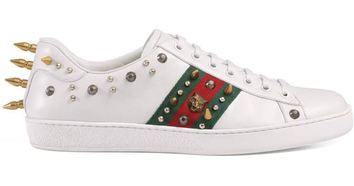 Gucci Ace Studded Leather Low-top Sneaker in White - Lyst