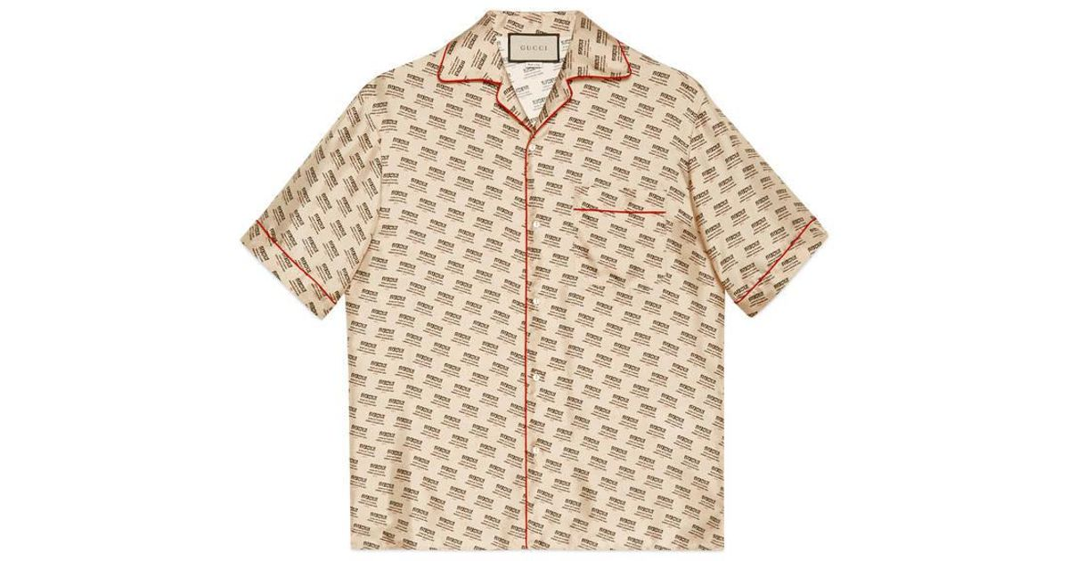 36d308c111a Gucci Stamp Bowling Shirt in Natural for Men - Lyst