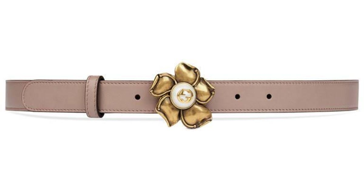 0af1ff11fac Lyst - Gucci Leather Belt With Metal Flower in Pink