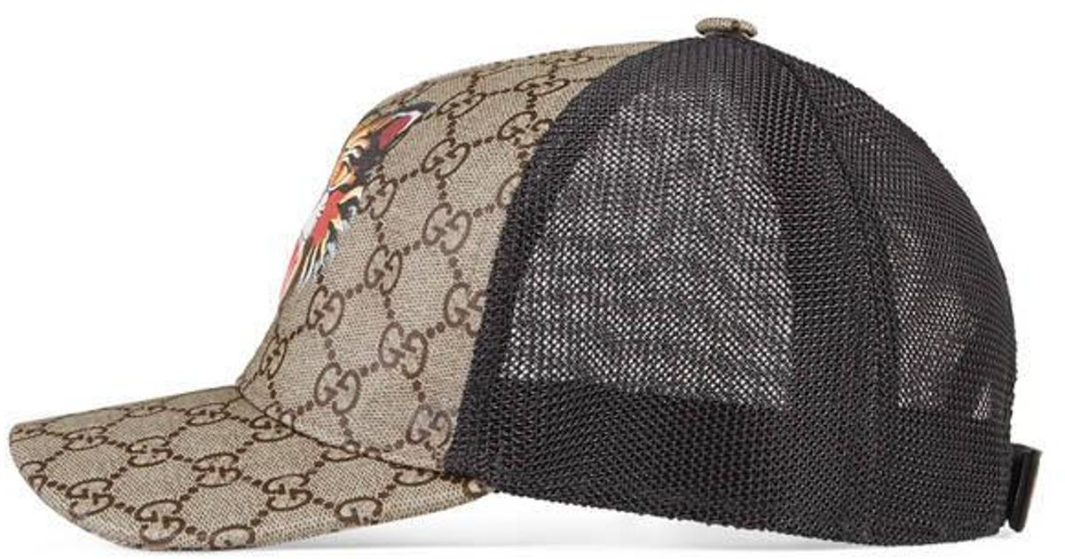 ff79e51ad95df Gucci Angry Cat Print Gg Supreme Baseball Hat in Natural for Men - Lyst