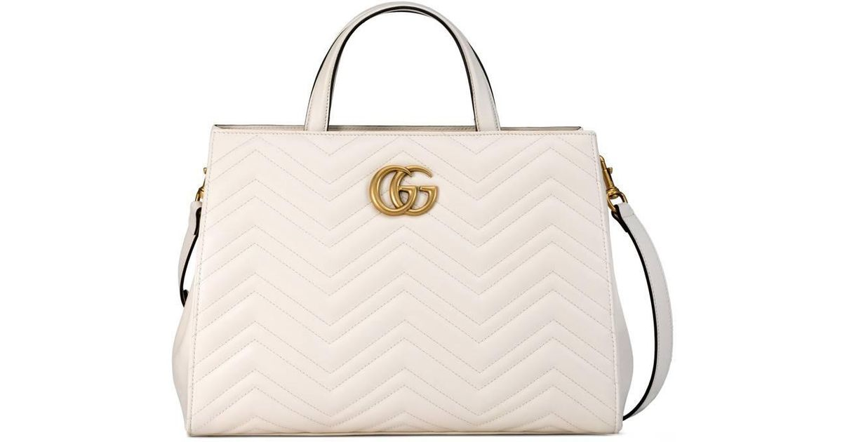 75c8a2168 Gucci Gg Marmont Matelassé Top Handle Bag in White - Lyst