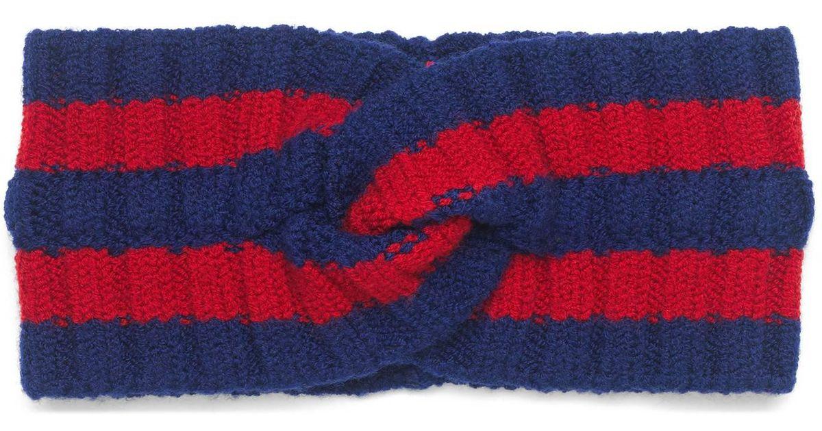 36e211ee72f Gucci Wool Web Headband - Lyst