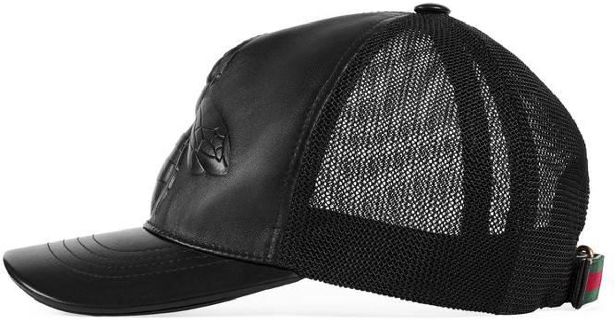 57ff0168d Gucci Bee-embossed Leather Baseball Hat in Black for Men - Lyst