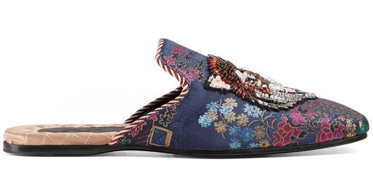 2fb9c43ce Lyst - Gucci Jacquard Evening Slipper With Donald Duck in Blue for Men
