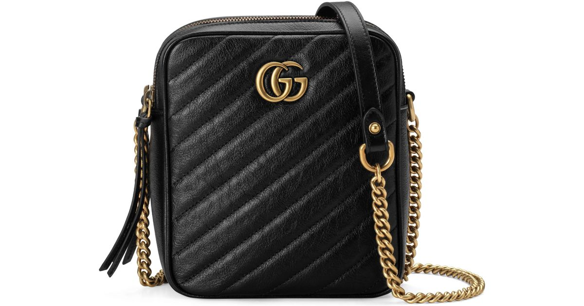 a8ff3d3cd978 Gucci GG Marmont Mini Shoulder Bag in Black - Lyst