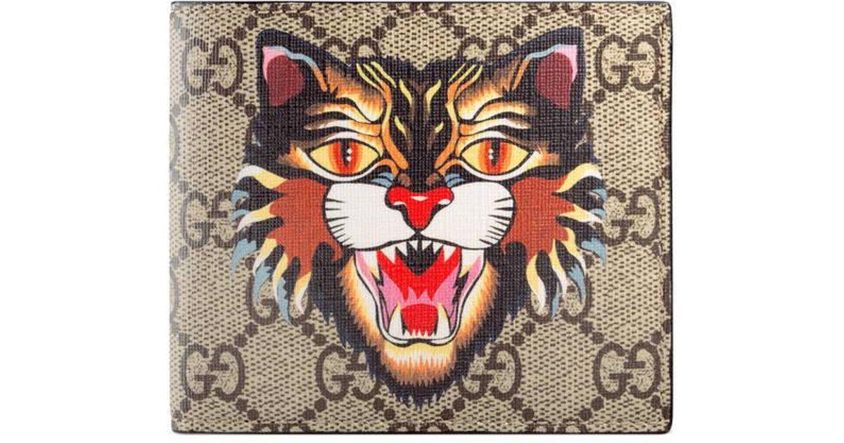 96e8f3f1ac66 Gucci Cat Print Gg Supreme Wallet - Lyst
