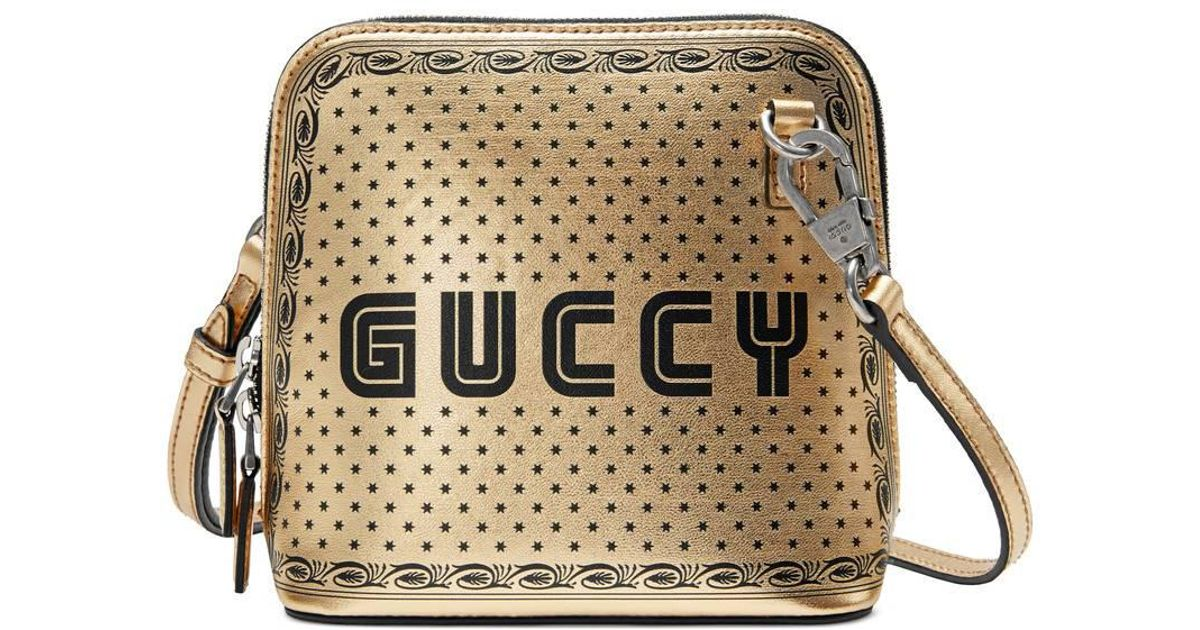 3c056fd87d8119 Gucci Gold-tone Guccy Mini Leather Shoulder Bag in Metallic - Save 47% -  Lyst