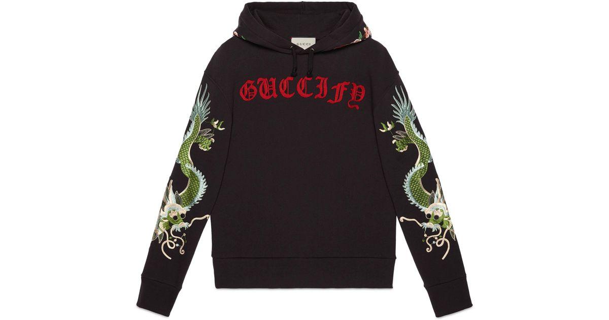 d6480430 Gucci Fy Pullover aus Baumwolle mit Drachen in Black für Herren