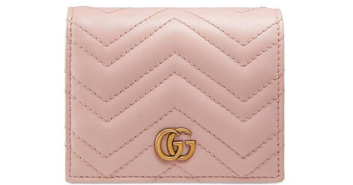 brand new 5671a 5324c Gucci Pink Gg Marmont Card Case Wallet