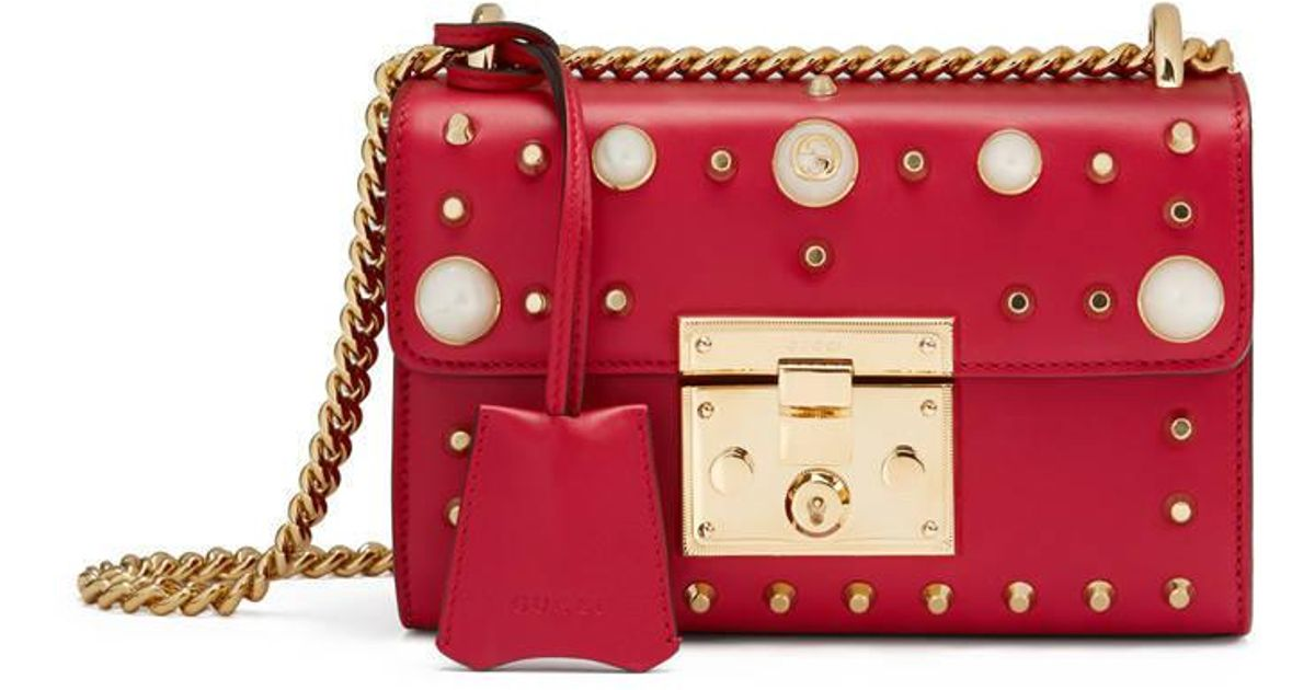 a9a599d5f1b0a3 Gucci Padlock Studded Leather Shoulder Bag in Red - Lyst