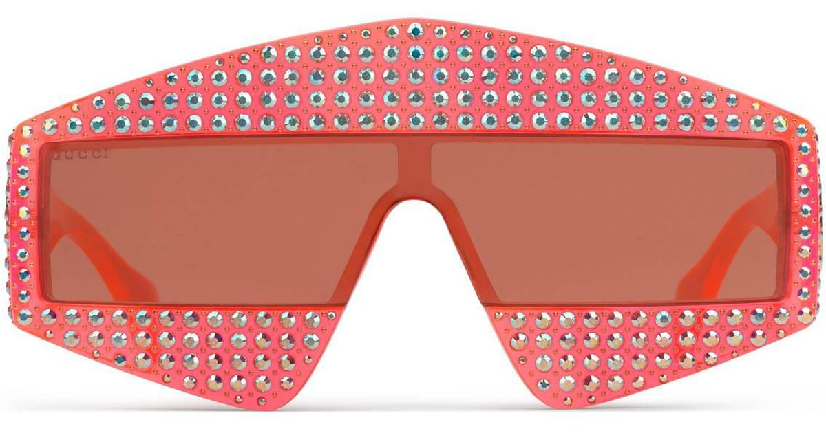 7181f8fe6761 Lyst - Gucci Rectangular-frame Acetate Sunglasses With Crystals in Orange