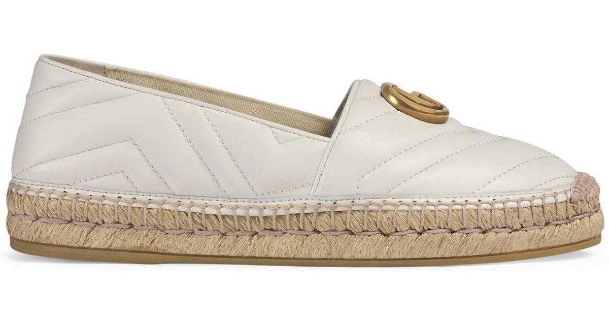 b58001ad3a6 Lyst - Gucci Leather Espadrille With Double G in White - Save 22%