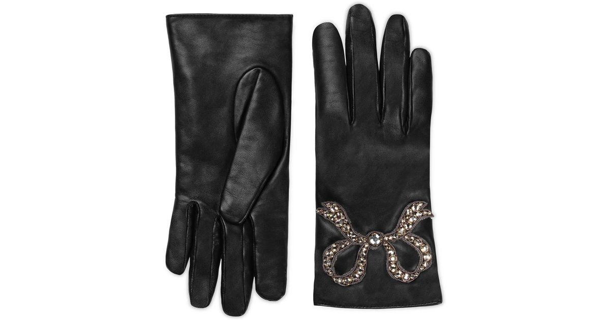 d23813cfca9 Lyst - Gucci Leather Gloves With Bow in Black