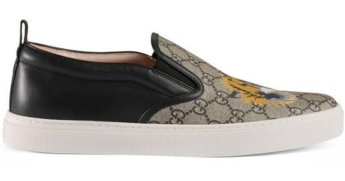 075f7db74dd Lyst - Gucci Gg Supreme Tiger Slip-on Sneaker in Brown for Men