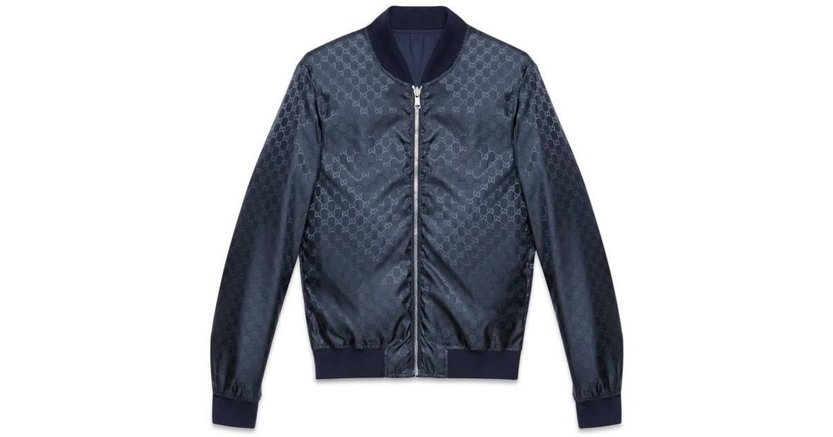9f2f8af540fb Gucci Reversible GG Jacquard Nylon Bomber Jacket in Blue for Men - Save 10%  - Lyst
