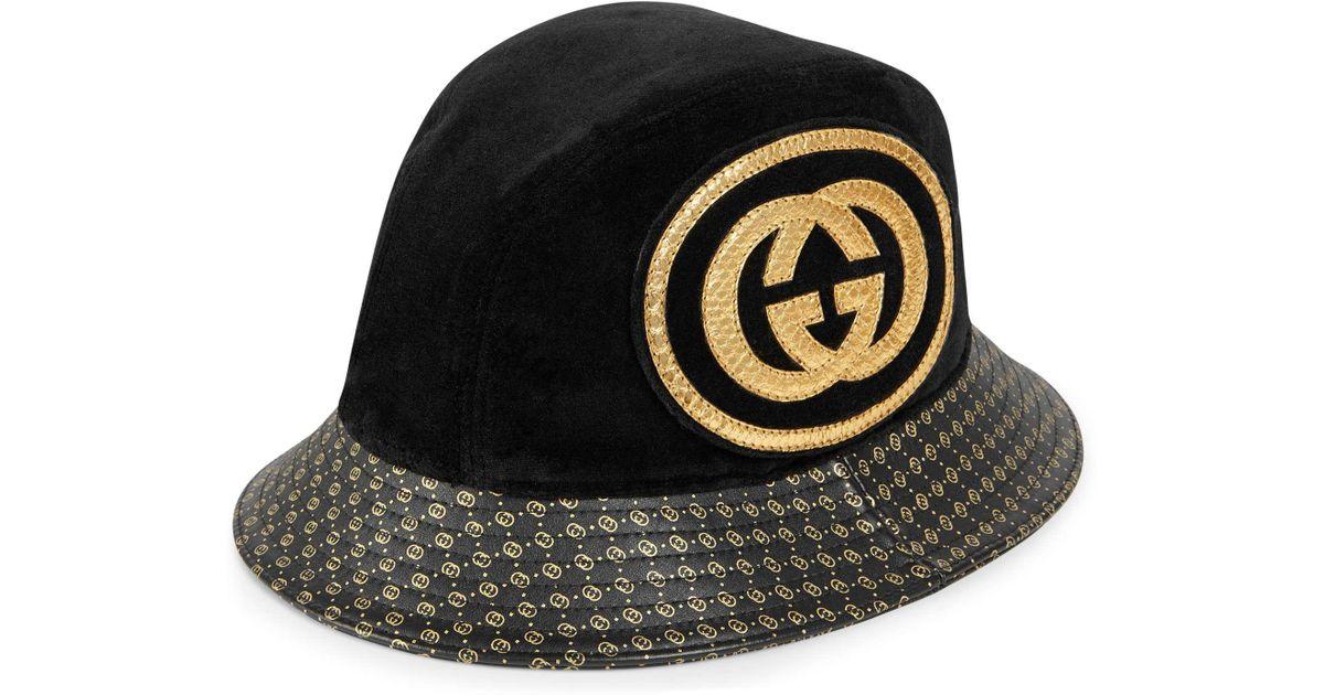 40208cb7fc1 Lyst - Gucci -dapper Dan Gg Leather Hat in Black