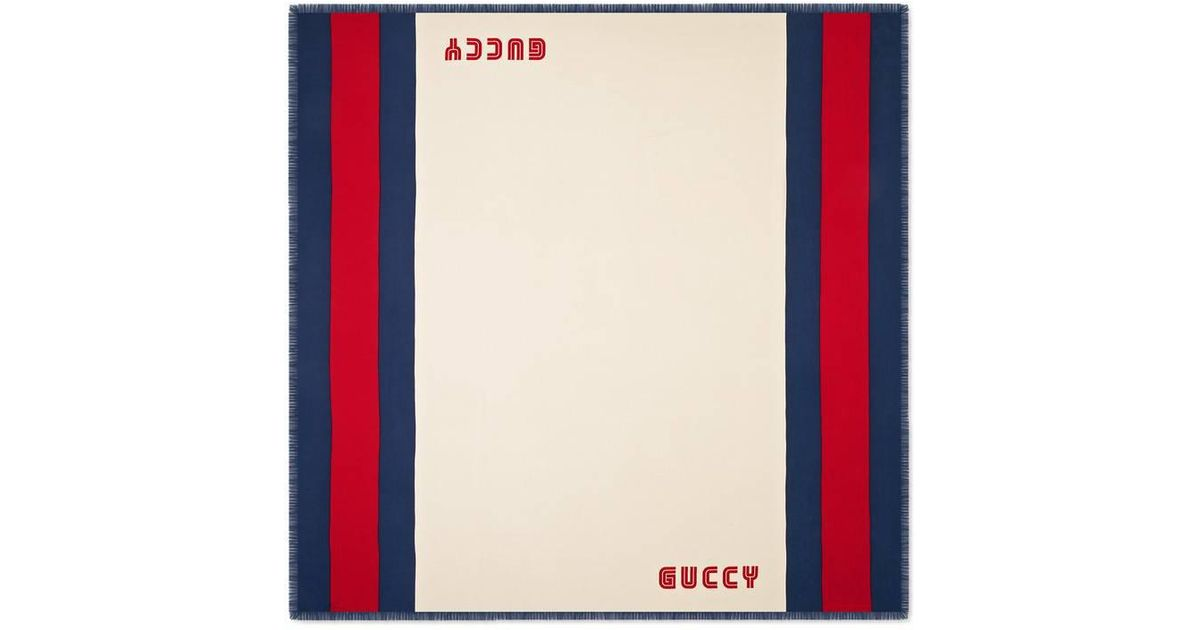 1a318d81e2d Lyst - Gucci Men s Guccy Striped Scarf for Men