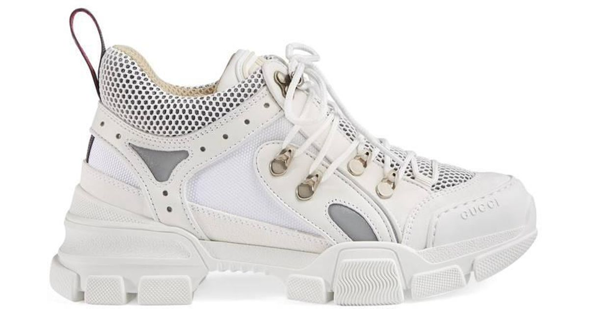 d51861e973e8 Gucci Journey Trek Leather And Canvas Trainers in White - Save 24% - Lyst