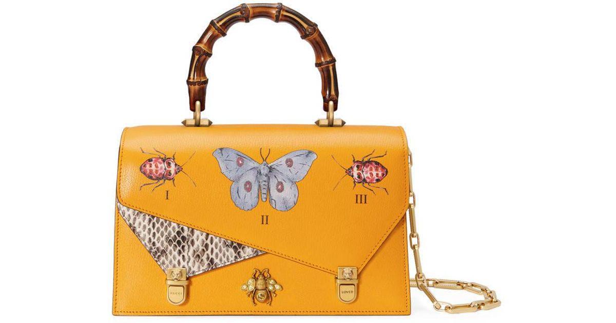 cf3b0f9f899 Lyst - Gucci Ottilia Leather Small Top Handle in Yellow