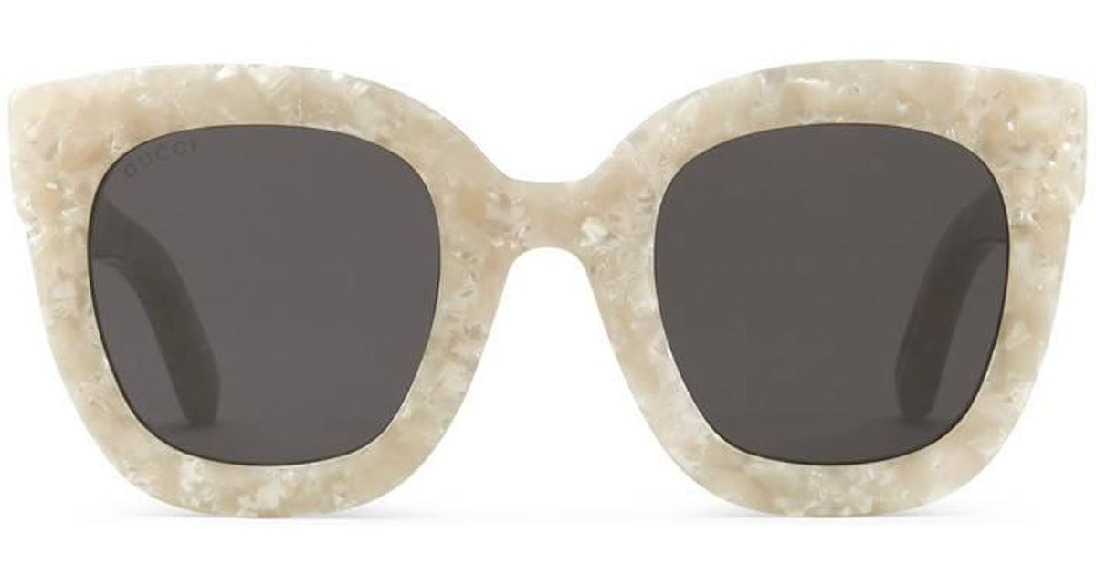 320bd9389 Gucci Round-frame Acetate Sunglasses With Star in White - Lyst