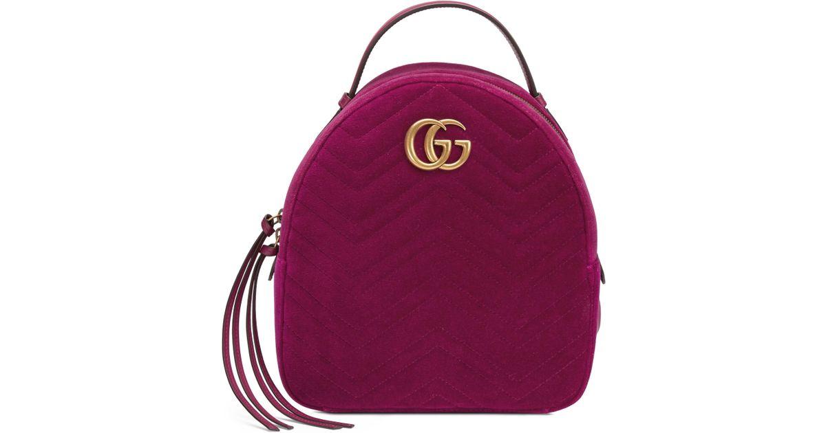 b87dd19edd7 Gucci Sac À Dos En Velours Gg Marmont in Purple - Lyst