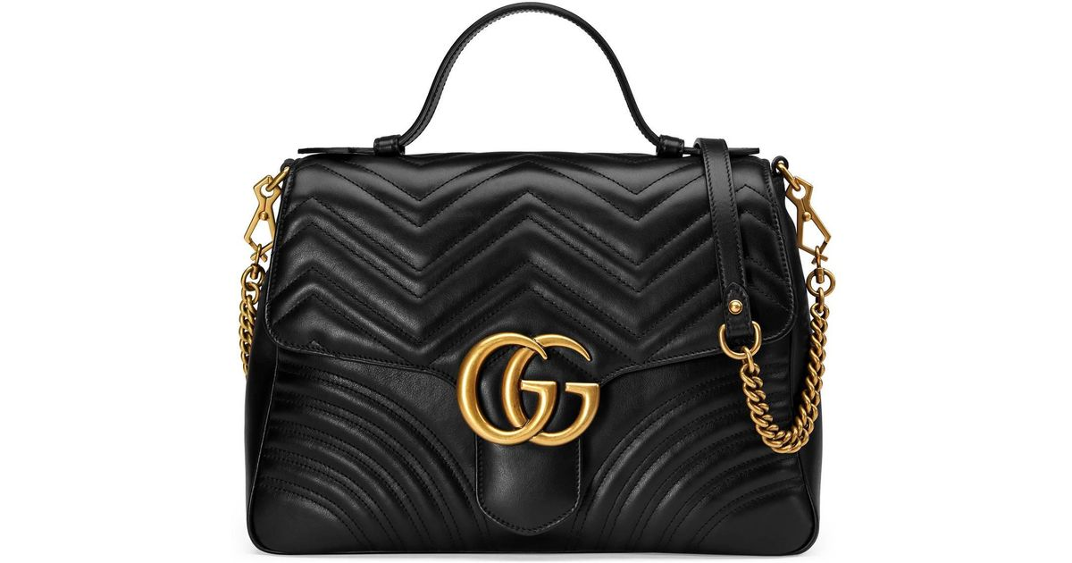 dde20de8b87 Lyst - Gucci GG Marmont Medium Top Handle Bag in Black - Save 26%