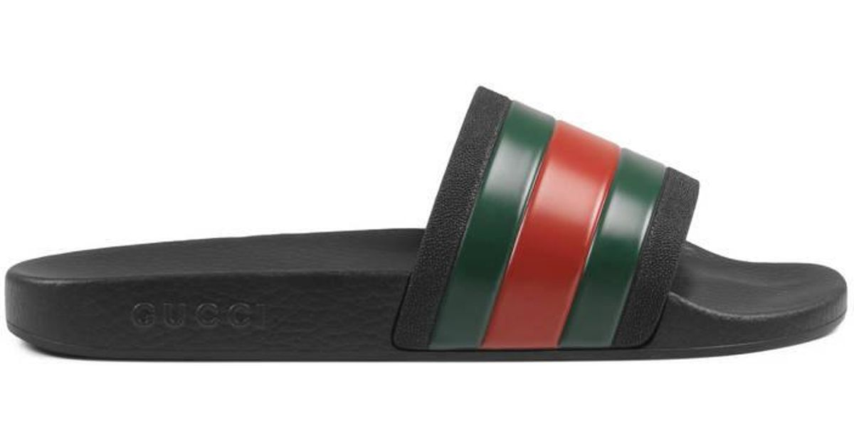 a8d7cbc1c Gucci Rubber Slide Sandal in Black for Men - Lyst