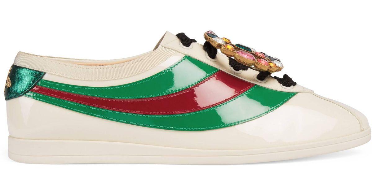 Gucci Green Falacer Sneaker aus Lackleder mit Webstreifen