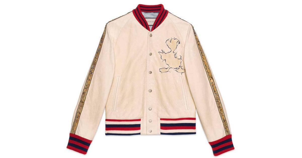 5a5cdb28d Gucci White Leather Bomber Jacket With Donald Duck Appliqué for men