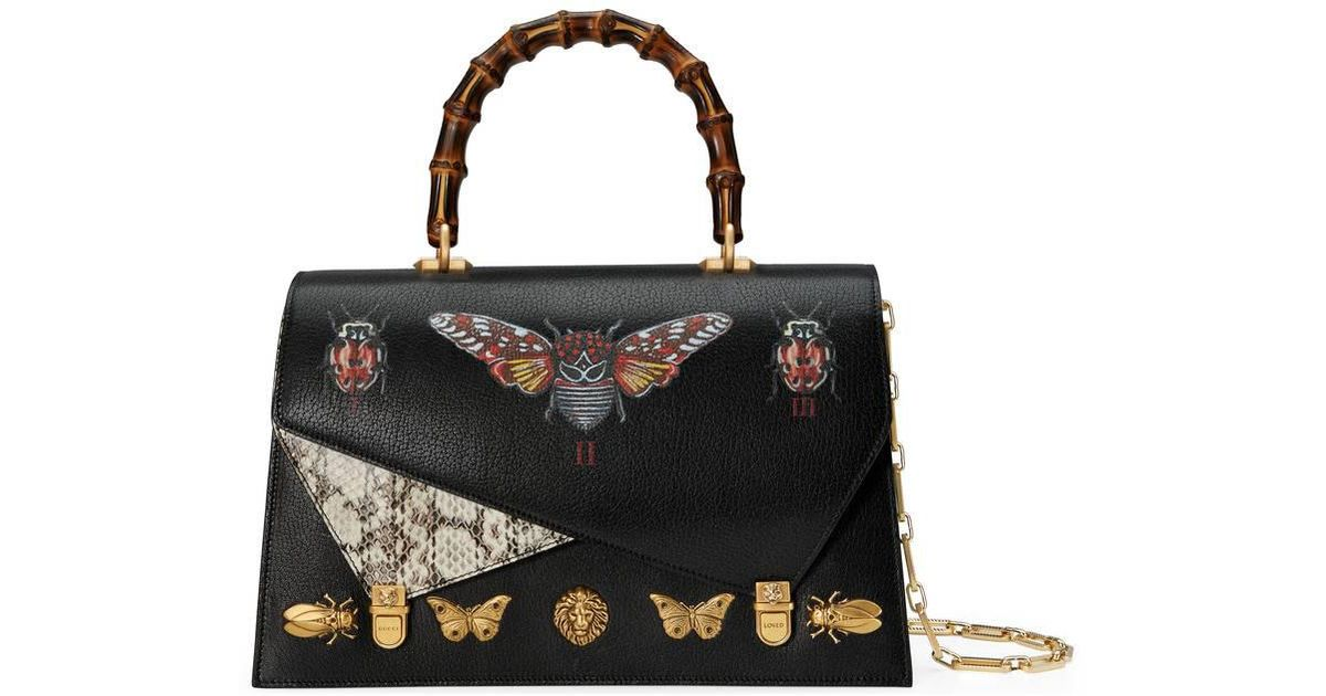 8cf0a2474a8 Lyst - Gucci Ottilia Leather Top Handle Bag in Black