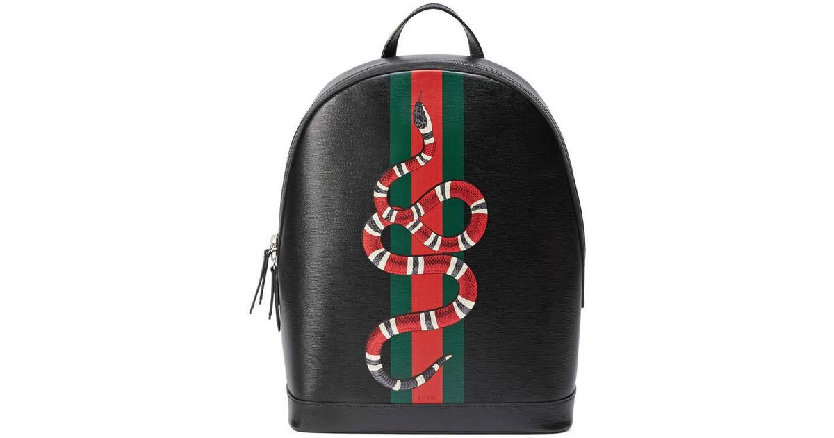 f287e550 Gucci Web And Snake Print Leather Backpack in Black for Men - Lyst