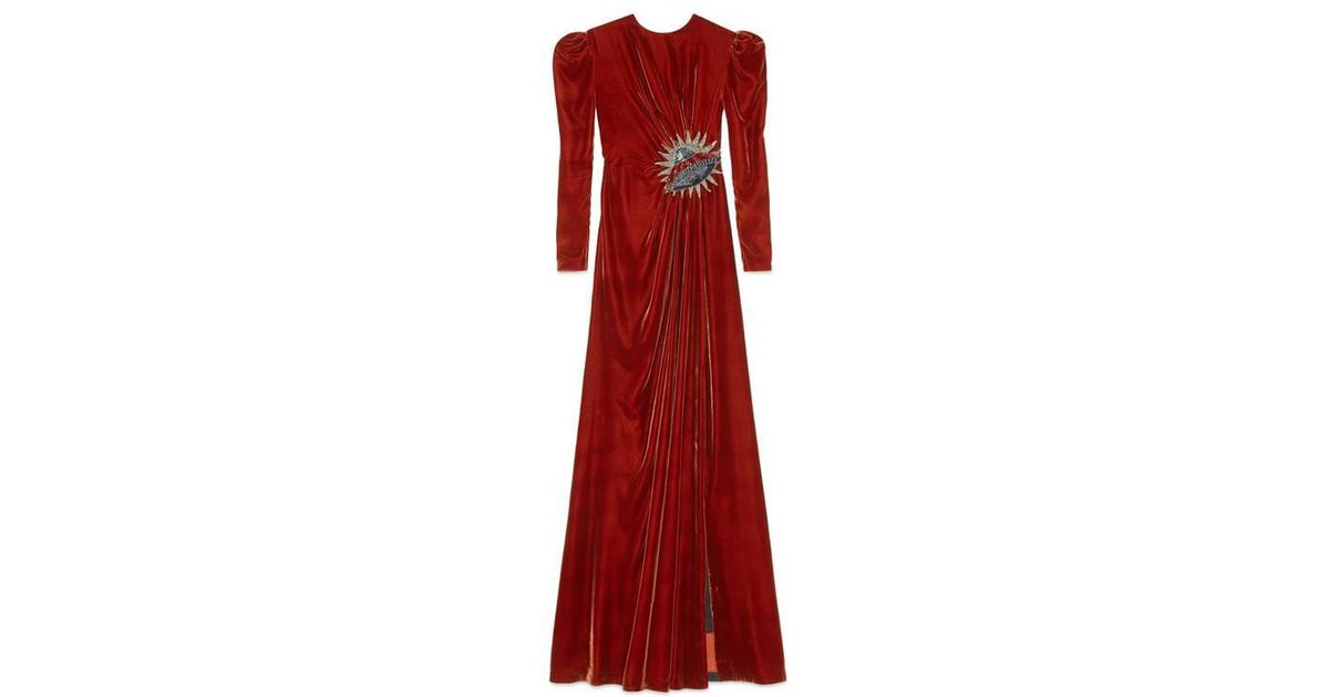 Gucci Ufo Embroidered Velvet Gown