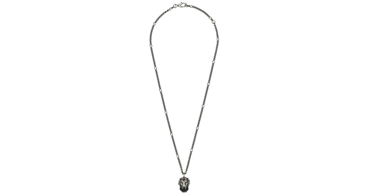 d0437cc8c Gucci Lion Head Necklace With Crystal in Metallic - Save 5% - Lyst