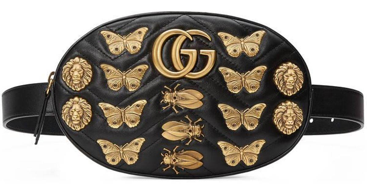 2fbe9fba16f Lyst - Gucci Gg Marmont Animal Studs Leather Belt Bag