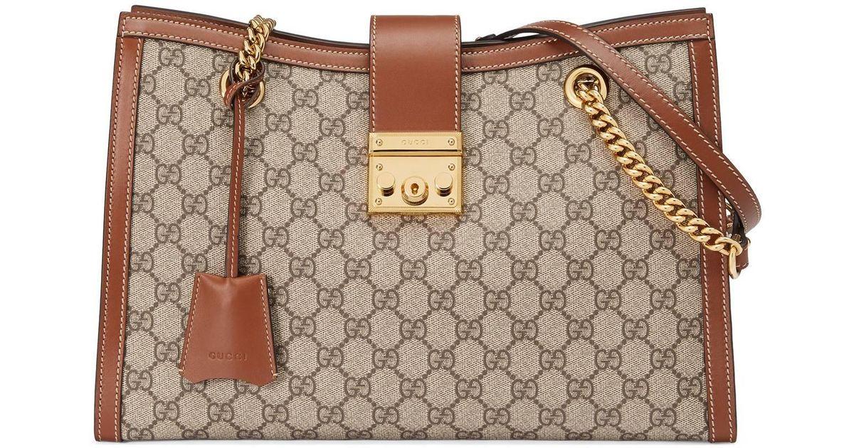 5d4d44eced99 Gucci Padlock Medium GG Shoulder Bag in Natural - Lyst