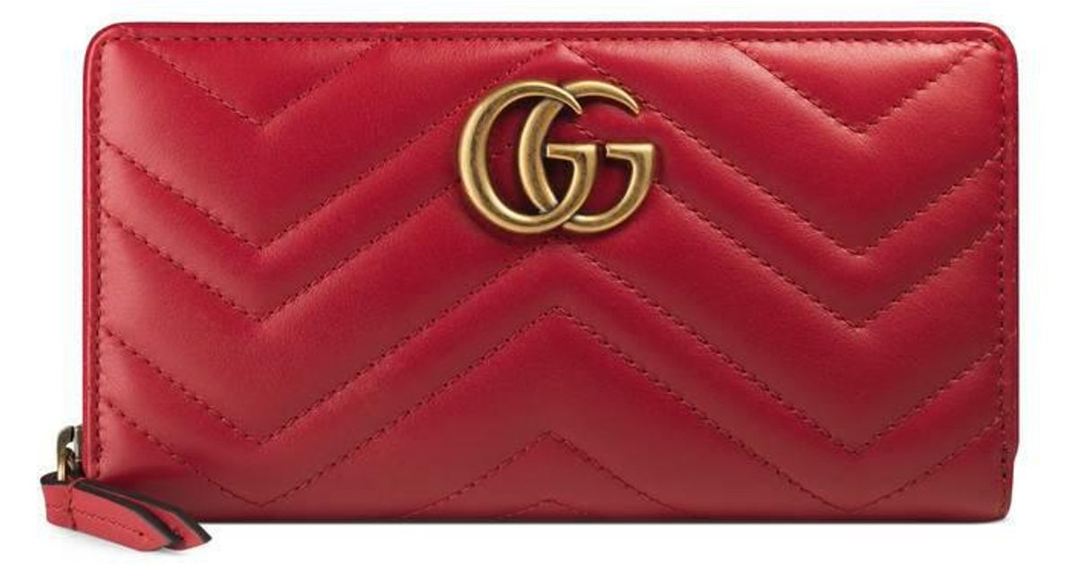 9c269fa5436d Gucci Gg Marmont Zip Around Wallet in Red - Lyst