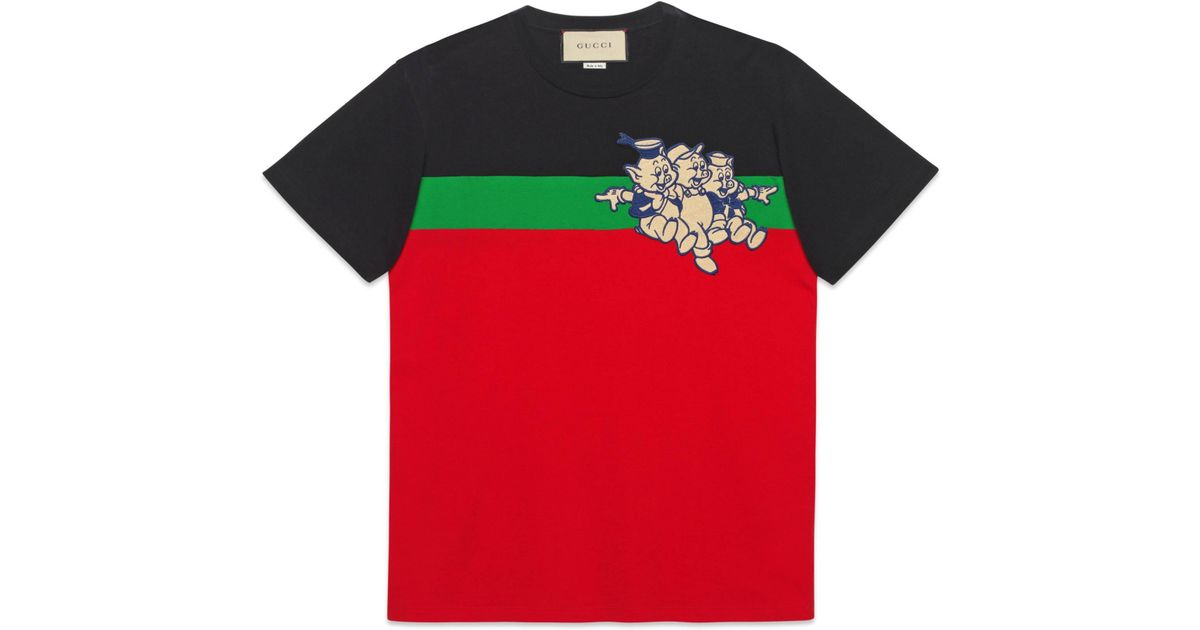 f1ad0e9cb Gucci Oversize T-shirt With Three Little Pigs in Red for Men - Lyst
