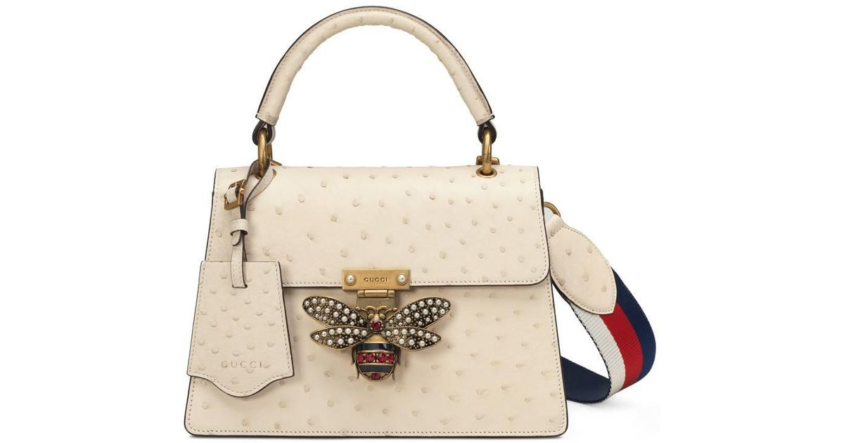 ee7538c48f3 Lyst - Gucci Queen Margaret Ostrich Small Shoulder Bag in White