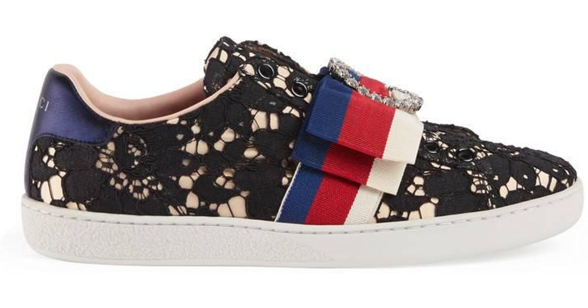 Gucci Ace Lace Sneakers in Black - Lyst