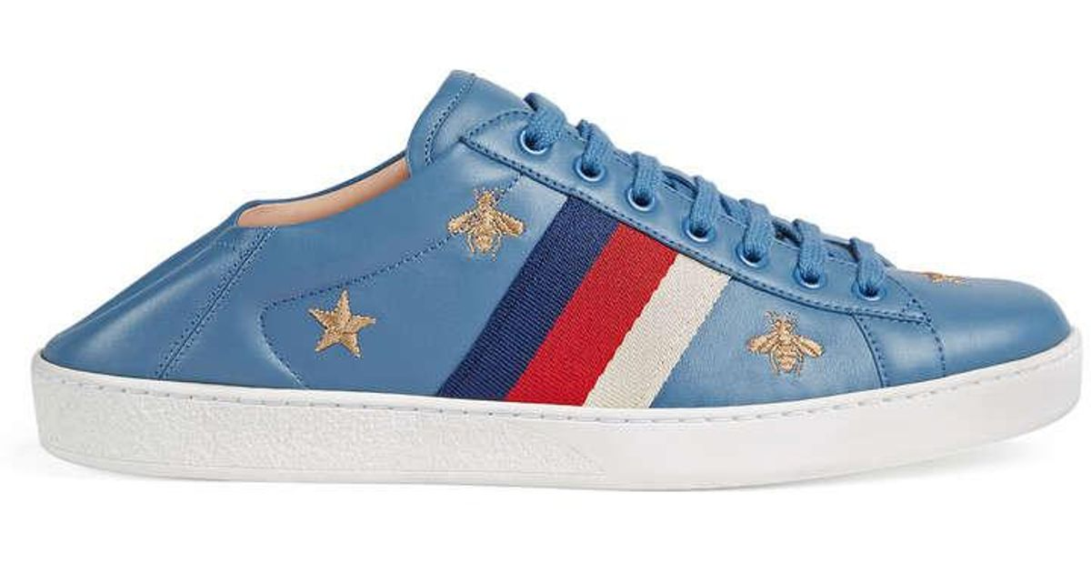 ceb3f5e00abf Lyst - Gucci Ace Sneaker With Bees And Stars in Blue for Men