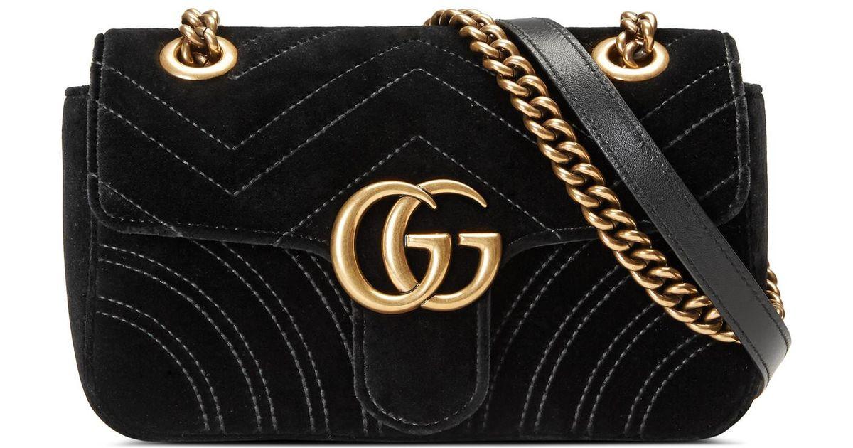 9e74d31f95 Gucci Black GG Marmont Velvet Mini Shoulder Bag