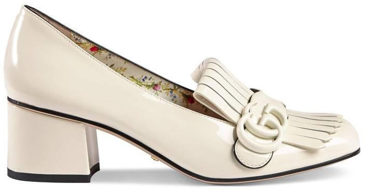 77bed4fde Gucci Marmont Patent Leather Mid Heel Pump in White - Lyst