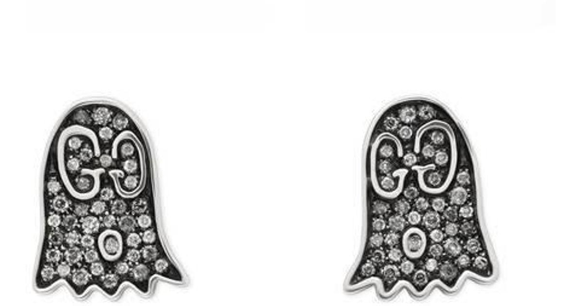 ef0af803da2 Lyst - Gucci Ghost Earrings With Diamonds