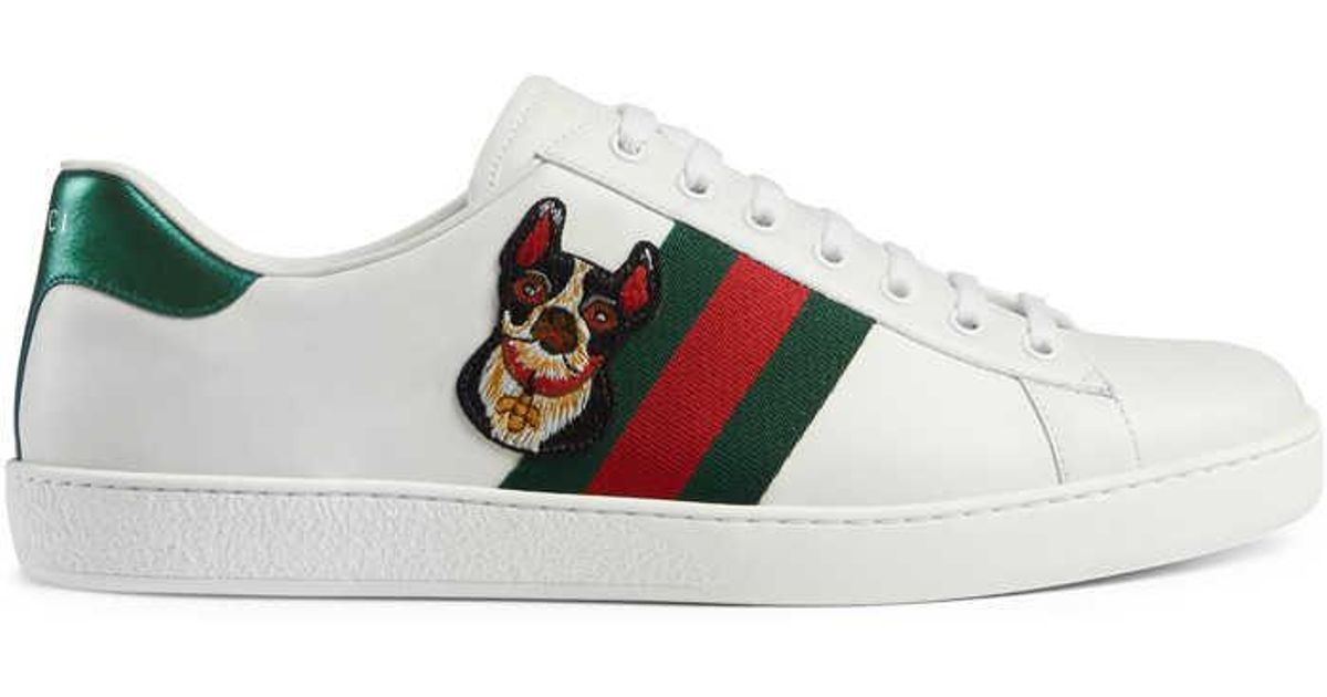 Gucci Leather Ace Embroidered Sneaker